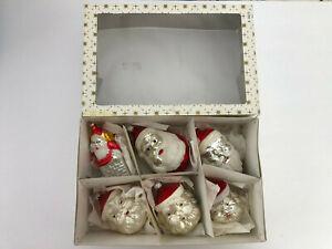 Santa Claus Antique Vtg Lot Mercury Glass West Germany Christmas Tree Ornaments