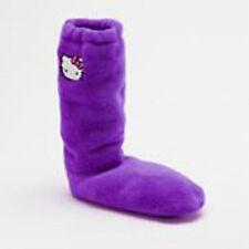 GIRLS PURPLE HELLO KITTY SLIPPER SOCKS BOOTS SHOES SIZE 7 - 3 MEDIUM - LARGE NWT