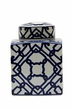 Large Square Blue and White Ceramic Ginger Jar with Lid Brand New!
