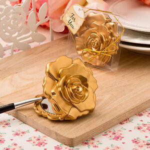 30 Ornate Matte Gold Rose Compact Mirrors Bridal Shower Wedding Favors