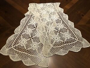 Handmade Crocheted Lace Table Runner, 48 X 13 In