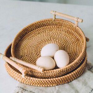 Rattan Storage Tray Round Basket Rattan Tray Wicker  Baskets Bread Fruit Food US