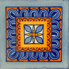 "Handmade Mexican Tile Sample  Talavera Clay 4"" x 4"" Tile C122"