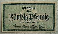 Notgeld Stadt Kiel 50 Pfennig 1.Januar 1918 mit Wasserzeichen (1057)