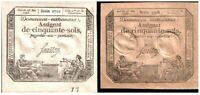 CRISP UNCIRC 1793 FRENCH REVOLUTION NOTES! BROWN & WHITE PAPER! RARE SO NICE $20