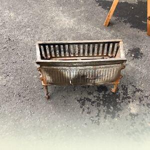 Vintage Cast Iron Fireplace Insert Grate Log Holder Basket