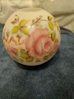 10 GWTW Pink Rose Bouquet Round Ball Globe Hurricane Oil Glass Lamp Shade sighne