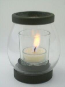 "Candle  Yankee Candle  V/H Iron  Tea Light   41/2"" Tall   Glass/Metal"
