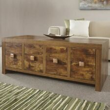 8 Drawer Coffee Table Distressed Mango Hardwood-effect Occasional Storage Unit