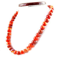 RARE 603.40 CTS NATURAL UNTREATED RICH ORANGE ONYX ROUND SHAPE BEADS NECKLACE