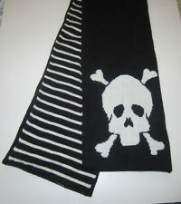 SKULL CROSS BONE  STRIPED REVERSIBLE SCARF FROM HOT TOPIC