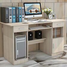 Computer Desk Home Study Office Workstation Storage Shelf Table Drawer Brown Oak