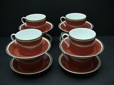 Fitz & Floyd MEDAILLON D'OR Orange Rust Cups & Saucers  / Sets of 8