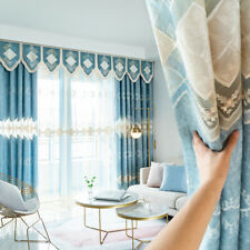 Custom luxury blue modern velvet embroidery blackout curtain valance M700