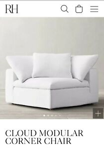 Restoration Hardware Cloud Modular Classic Corner Chair Slip Cover in White