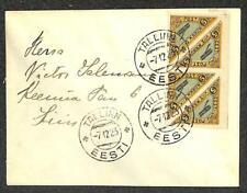 ESTONIA SCOTT C1 BLOCK OF 4 STAMPS AIR MAIL COVER 1923