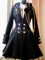 Sweet Classic Gothic Black Button Wool Lolita FASHION Military style Jacket coat
