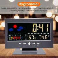 Digital Temperature Humidity Monitor Clock LCD Display Indoor Home Weather Meter