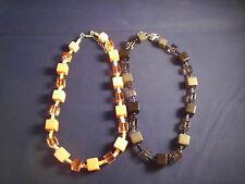 Modeschmuck 2x Halsketten, Würfel Kette Acrylperlen lachs/schwarz ca 45-50cm NEU