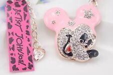 Betsey Johnson Necklace Mickey Mouse Pink And Gold Crystal Mickey Mouse Ears