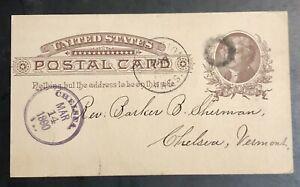 Antique 1890-US Stamped Postal Card UX8-RARE PURPLE Chelsea, Vermont Cancel