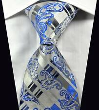 Classic Paisleys Stripes Blue Silver JACQUARD WOVEN 100% Silk Men's Tie Necktie
