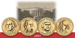 2007-P  ALL 4 PRESIDENTIAL DOLLAR COINS