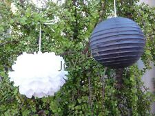 12x Black paper lanterns & white tissue paper pom poms wedding party decorations