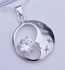 925 Sterling Silver Diamond (Simulated) Crystal Moon Crescent Star Necklace