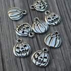Pumpkin Charms Jack O Lantern Qty 4, Antique Silver Halloween Frightful