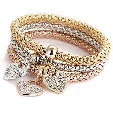 Women 3Pcs Gold Silver Rose Gold Bracelets Set Rhinestone Bangle Jewelry UK