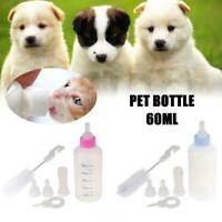 1 Pcs 60/150ml Puppy Kitten Feeding Bottle Pet Animal With Brush Feeder I2U5