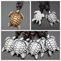 Black Unisex Amulet Carved Turtle Pendant Jewelry Imitation Yak Bone Necklace