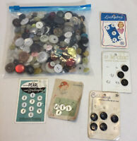 LOT OF VINTAGE BUTTONS, ALL RANDOM SHAPES AND SIZES MULTIPLE COLORS