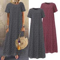 Women Short Sleeve Summer T-Shirt Dress Floral Print Long Maxi Dress Kaftan Plus