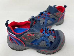 NEW! Skechers Toddler Boy's WHIPSAW WANDER TREK Sandals Navy/Red #92294N 201N tz