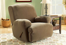 Sure Fit Stretch Pinstripe Recliner Slipcover in Taupe