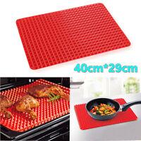 40x29cm Pyramid Fat Reducing Silicone Baking Tray Oven Pan Cooking Mat Sheets UK