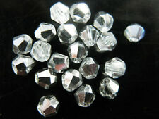200pcs Half Silver Plated Glass Crystal Faceted Bicone Beads 4mm Spacer Findings