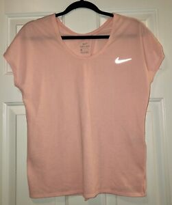 Nike Pink Short Sleeve Open Back Top, Size Large
