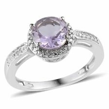 ROSE DE FRANCE AMETHYST SOLITAIRE ACCENTS PLATINUM STERLING SILVER RINGS SIZE 9