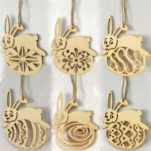 Happy Easter Wooden Pendant Bunny Rabbit Chip Hanger Wall Hanging Ornaments MA