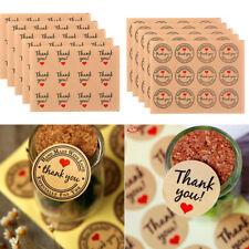 60Pcs Love Heart Thank you Small Red Heart Kraft Paper Sticker Baking Stickers