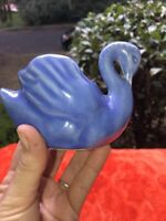 Vintage Small Periwinkle Blue ceramic swan bird art pottery planter B7