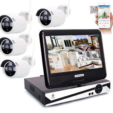 "10"" LCD 4CH 720P Wireless HD NVR IR-CUT Camera Home Security System Baby Monitor"