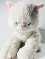 Build a Bear Fluffy White Cat Plush Kitty Blue Eyes Stuffed Animal Pink Ear 12""