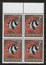 AUSTRALIA 1966 7c HUMBUG FISH BLOCK of 4 MNH