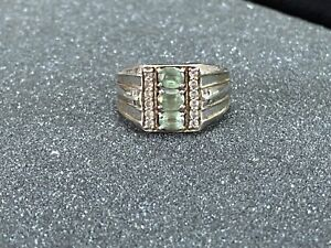 Vintage Mens Sterling Silver Peridot & Diamond 925 STS Ring Sz:10 Chuck Clemency
