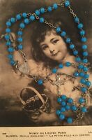 French Antique Vintage Old Blue Glass Rosary Beads Silver Cross wear as Necklace