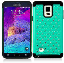 For Samsung Galaxy Note 4 Hybrid Studded Diamond Case Cover BK Skin W